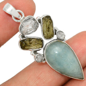 Aquamarine, Moldavite & Herkimer Diamond 925 Silver Pendant BP84322