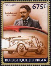LOUIS RENAULT & 1930s Viva Grand Sport Car Automobile Stamp (2014 Niger)