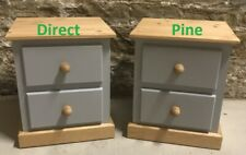 X2 (PAIR) SHAFTESBURY 2 DRAWER BEDSIDE CABINETS IN GREY WITH ANTIQUE WAX TRIMS