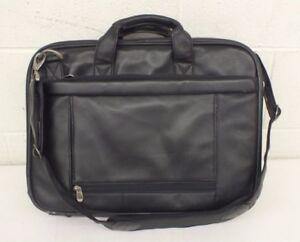 "Briggs & Riley Black Leather Laptop Messenger/Shoulder Attache Bag 4x13x18"" LOOK"