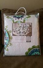 Nwd Reversible Quilt Set Full/Queen Boho Medallions White Green Blue Modcloth