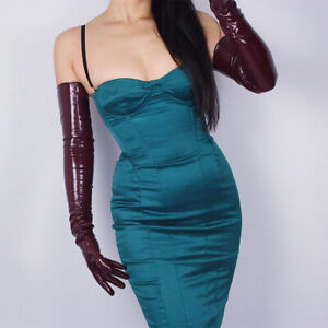 """Women Sexy Gloves Shine Leather Faux Patent PU 27"""" 70cm Everyday Party Clubwear"""