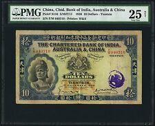 China Chartered Bank of India Australia China Tientsin $10 1930 S216 PMG 25 VF