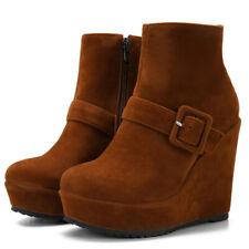 Platform Ankle Boots For Women Zipper Wedge High Heels Winter Booties Shoes US 6