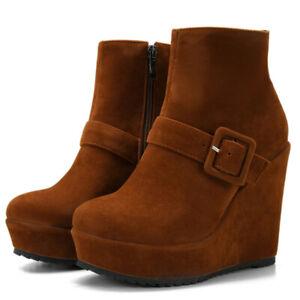 Platform Ankle Boots For Women Zipper Wedge Heel Winter Booties Shoes US 6 Brown