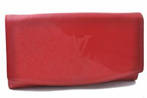Authentic Louis Vuitton Leather Mycenae Clutch Bag Red M63957 LV C3248