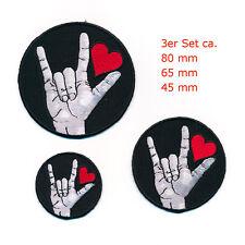 3 Liebe Love Amore Herz Rockabilly Gothic Patches Aufnäher Aufbügler Set 1008