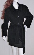 Deep Black CALVIN KLEIN Baby Soft 65% Angora Coat Jacket w Belt Sz 14P  L