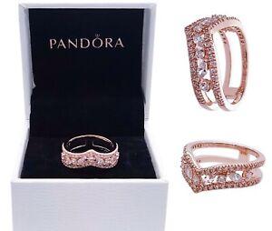 NEW 100% PANDORA Rose Gold Sparkling Marquise Double Wishbone Ring 189095C01