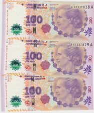 More details for three consecutive p358a argentina 100 pesos banknotes in mint condition.