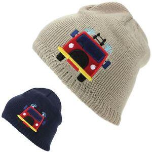 Child Beanie Hat Winter Warm Cap Kids Pom Boys Girls FIRE ENGINE Fleece Lining