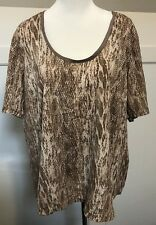 Now Blouse Top Plus Size 18 Tan Snake Python Print New BNWT Casual Business