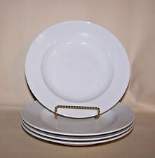 RICHARD GINORI  Supreme White Spiral Groove (4) Rimmed Soup Bowls  ITALY -  NEW