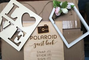Lot of 3 Wedding Wood Signs - Guest Book Polaroid Photos Custom Made, Love, Open