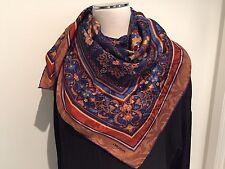 "OROTON Italy 100% Silk ""Autumn"" Jacquard Large Scarf 70cm x 70cm Hand Roll Edge"