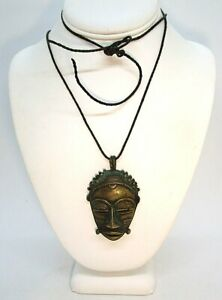 """Vintage Brass African Mask Pendant on Leather Cord 49.7 grams  pendant: 2 3/4"""""""