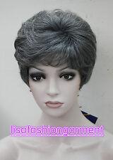 Peluca De Moda Para damas Para mujeres corto negro gris De Pelo Natural Pelucas + Gratis Peluca Cap