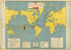 c1933+Short-Wave+World-Wide+Radio+Tours+Stations+Map+11x15.5+Ham+Wall+Art+Poster