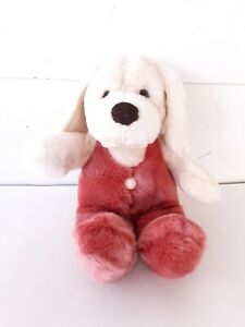 Vintage Russ Baby Plush Stuffed Dog Rattle Rompers Russ Berrie