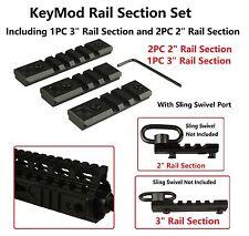 "3 Pc KeyMod Rail Section Set, 3""x1Pc 2""x2Pc With Qd Port, Standard Parts"