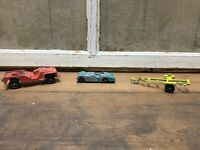 Vintage Tootsietoy Lot Of Steel Toys Jeep Triumph TR-3 Bot Trailer USA Old Toy