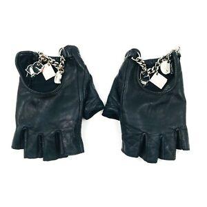 Karl Lagerfeld Black Leather Fingerless Designer Gloves Size M L