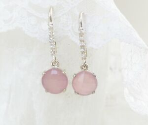 Wire wrapped Earrings Pink Chalcedony  Drops ThePurpleLilyDesigns