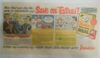 Friskies Dog Food Ad: Save On Extras ! from 1950 Size: 7.5  x 15 inches