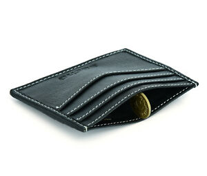 Mens GENUINE Leather Credit Card Holder Flip Wallet Slim RFID Blocking 6 Slots