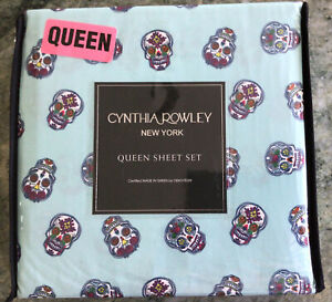 Cynthia Rowley Sugar Skull Microfiber Sheet Set QUEEN  Size NIP - HALLOWEEN