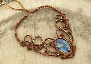 Macrame Necklace Pendant Jewelry Labradorite Cabochon Stone Handmade Bohemian W1