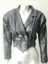 Retro Vintage 80s Motorcycle Punk Real Leather Cropped Black Jacket Coat M