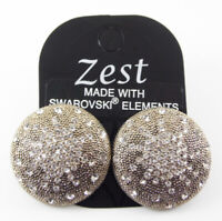 SWAROVSKI CLEAR CRYSTAL EARRINGS LARGE GOLD STUDS WITH STARBURST DESIGN BY ZEST