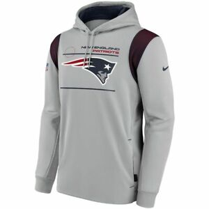 New 2021 NFL New England Patriots Nike Sideline Logo Performance Pullover Hoodie