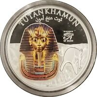 2012 Cook Islands $1, Colorized, King Tut, Tutankhamun, Proof, Only 5,000 Minted