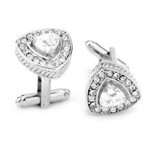 18k White Gold Plated Cufflinks Vintage Triangle Shape Cuff Crystal  Clear TR01