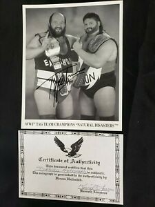 HAND-SIGNED WWF WRESTLING 8X10 PHOTO TAG TEAM CHAMPS 'NATURAL DISASTERS' W/COA