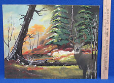 Hand Painted Picture Canvas Acrylic Landscape Woods Deer Nature 11 x 14 Unframed