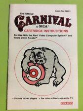 Carnival Atari 2600 MANUAL ONLY NO GAME Sega Coleco Rare