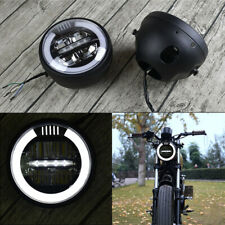 6.8 Inch Motorcycle LED lighting Headlamp Angel Eyes High Low Beam  Cafe Racer
