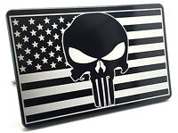 Aluminum Trailer Hitch Cover PUNISHER AMERICAN FLAG UV BLUE//RED LINE  4x6