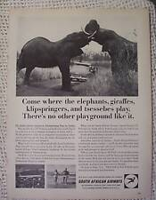 SOUTH AFRICAN AIRWAYS AIRLINE ELEPHANTS VINTAGE AD 1965