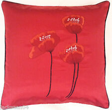 "2 X FILLED POPPY RED BLACK FAUX SILK FLORAL POPPY 18"" EMBROIDERED CUSHIONS"