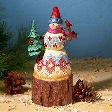 Jim Shore Christmas Snowman w/Tree & Cardinal Figurine ~ 4024281