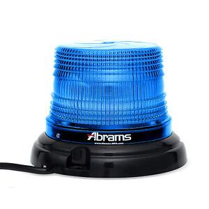 "Blue SAE Class 1 4"" 12 LED Magnet Permanent Mount Police & EMS Beacon Light"