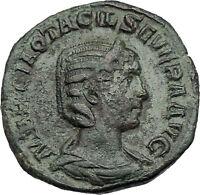 Otacilia Severa 247AD Big Sestertius Ancient Roman Coin Loyalty Pietas i46442