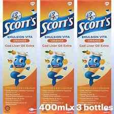 Scott's Emulsion Cod Liver Oil (Orange) 400ml x 3 bottles New Packing Halal