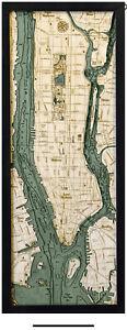 Nautical Wood Chart-Manhattan, New York