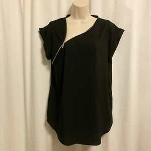Express M Medium Zip Neck Gramercy Tee Black Silver Blouse Top Nursing $40