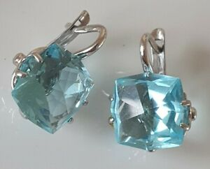 1Typical Russian SOLID SILVER EARRINGS LEVERBACK  Blue CRYSTALS HALLMARKED 925